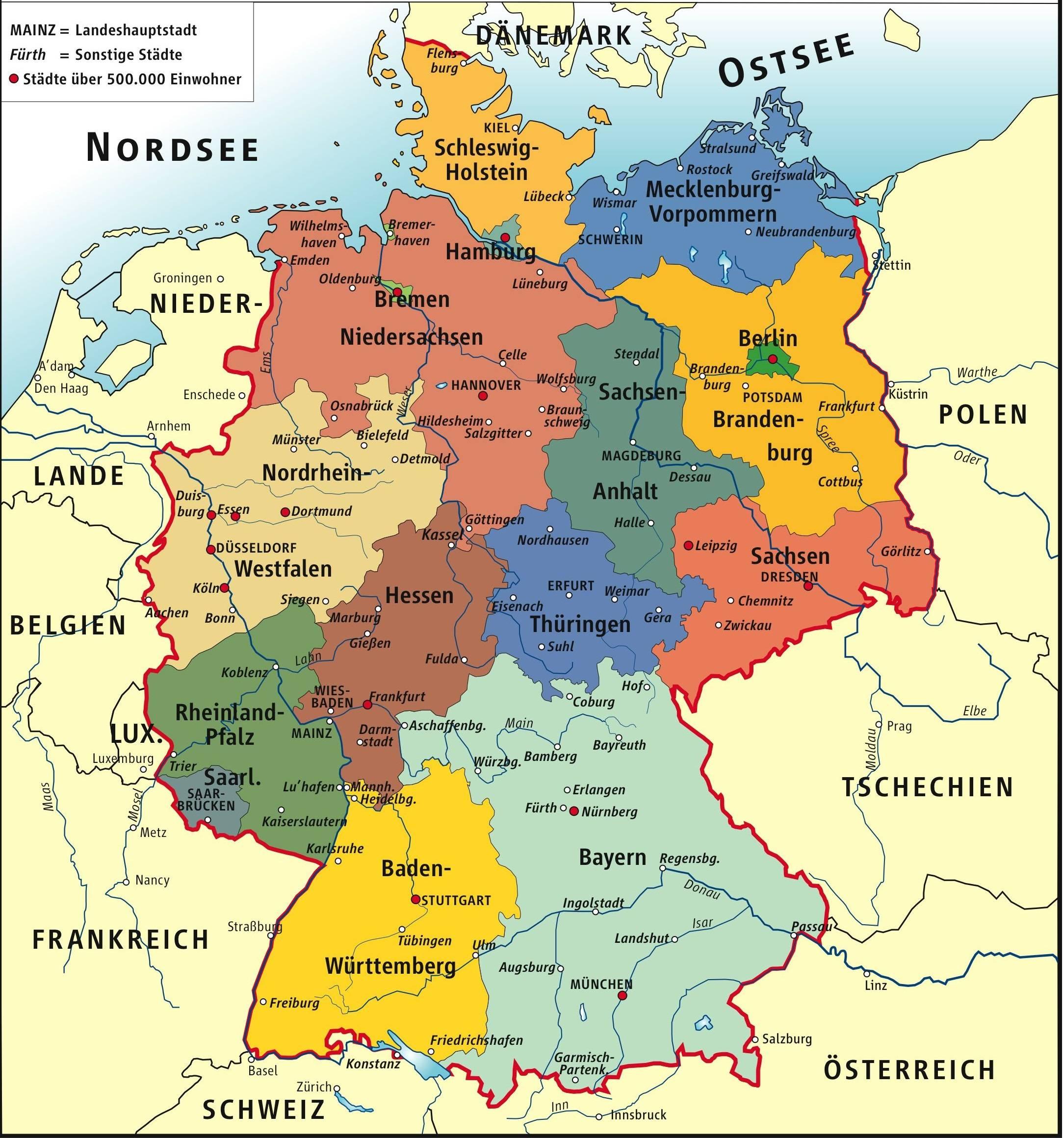 نقشه کشور آلمان